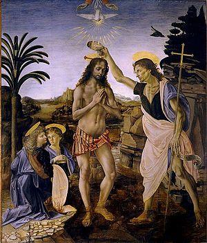 Andrea del Verrocchio, Leonardo da Vinci - Baptism of Christ - Uffizi.jpg